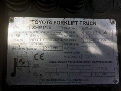Газовый автопогрузчик Toyota для производителя сельскохозяйственных культур